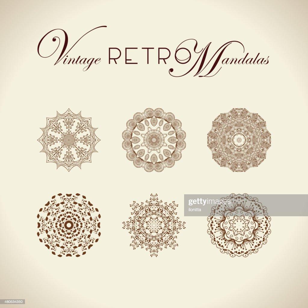 Vintage retro mandala-design. : Vektorgrafik
