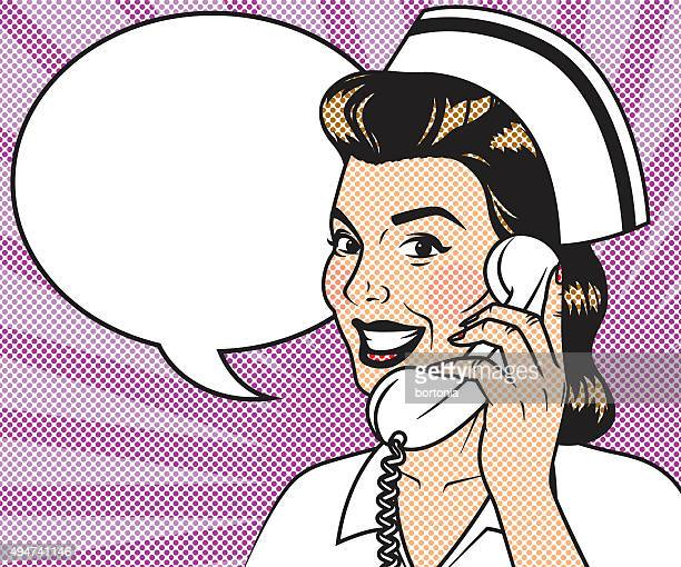 Vintage Retro Nurse On The Phone Line Art Icon