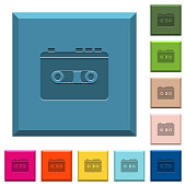 Vintage retro walkman engraved icons on edged square buttons in various trendy colors