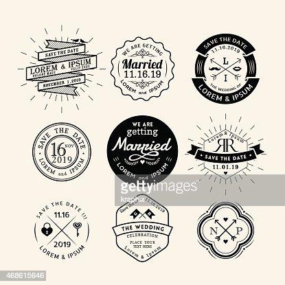 vintage retro wedding logo frame badge design element