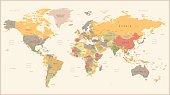 Vector Illustration of Retro World Map