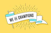 Vintage flag. Trendy ribbon flag with text We are Champions and linear drawing of sun rays, sunburst. Colorful old banner with ribbon flag, hand-drawn element for sport design. Vector Illustration