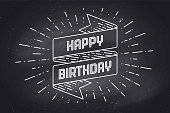 Vintage ribbon banner and drawing in engraving style with text Happy Birthday. Hand drawn design element. Happy Birthday typography for greeting card, banner and poster. Vector Illustration