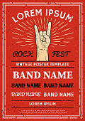 Vintage Rock festival poster, flyer with Rock and Roll hand sign. Vector illustration