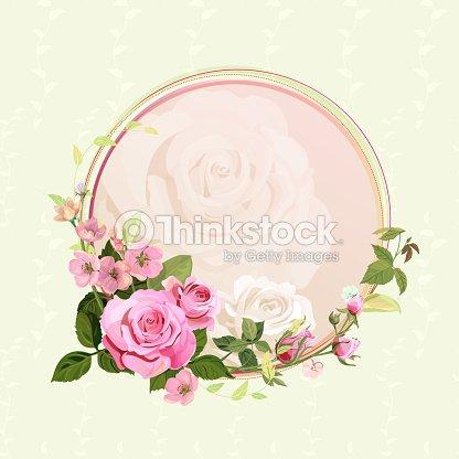 Vintage Marco Redondo Con Rosas Flor De Primavera Ramas Con Flores
