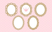 Set of laser cut vector oval frames. Templates can be used for decoration invite party ( wedding, baby shower, birthday) card.