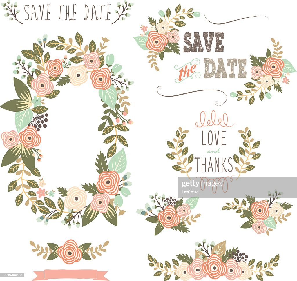 Vintage Rustic Floral Wreath- illustration