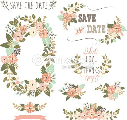 Vintage Rustic Floral Wreath Illustration Vector Art