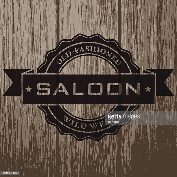 Vintage Saloon Label on Aged Wood