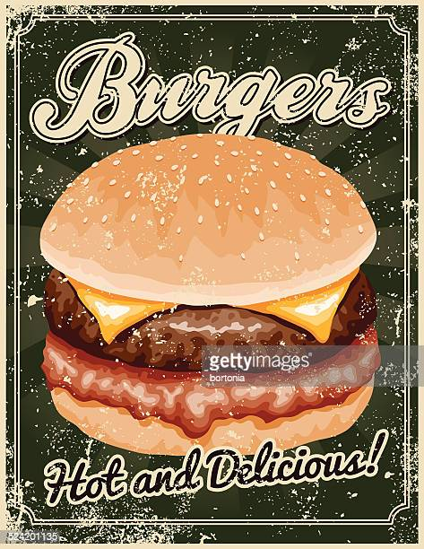 Vintage Screen Printed Burger Poster