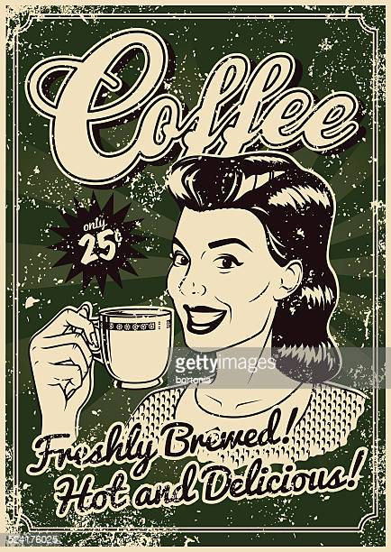 Vintage Screen Printed Coffee Poster