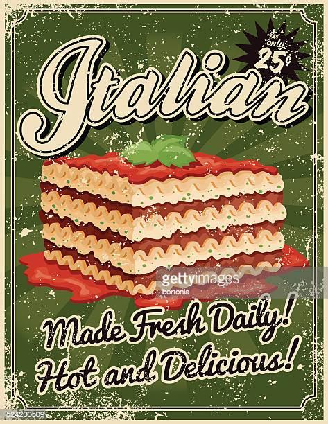Illustrations et dessins anim s de lasagnes getty images for Affiche cuisine retro