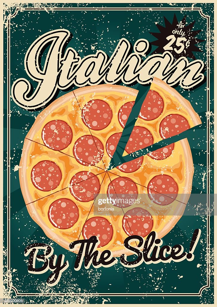 Vintage Screen Printed Italian Food Poster Vector Art ...