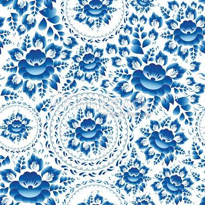 sans couture vintage motif d coratif avec bleu fleurs et de feuilles illustration clipart. Black Bedroom Furniture Sets. Home Design Ideas