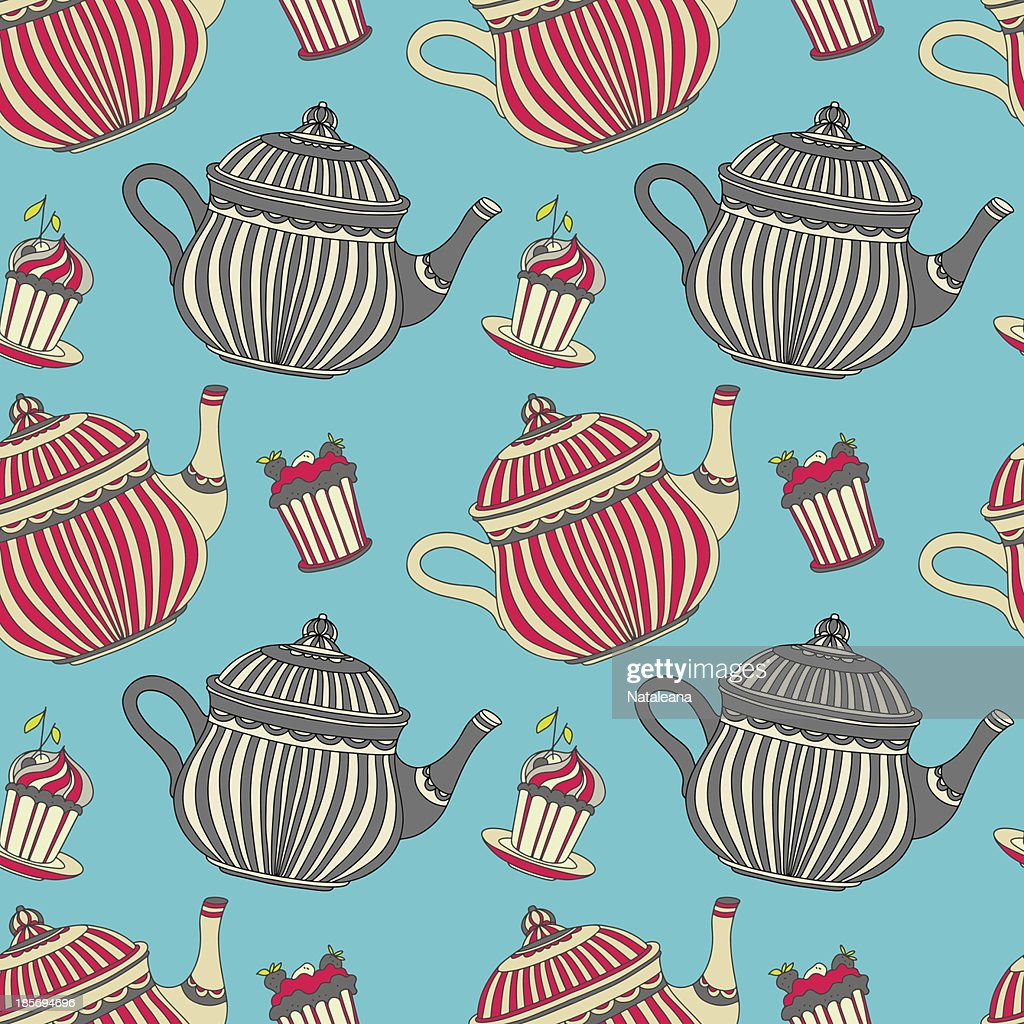 Vintage Seamless Pattern With Teapots And Cakes Vector Art ...