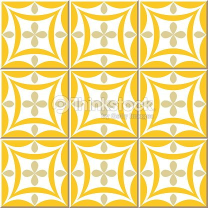 Vintage Seamless Wall Tiles Of Yellow Oval Cross Moroccan Portuguese ...