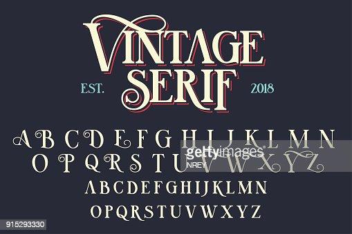 Vintage serif lettering font : Arte vettoriale