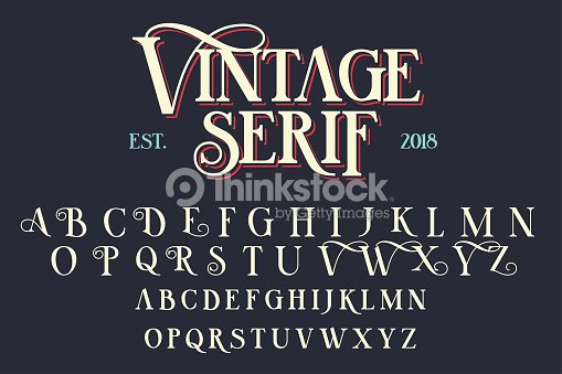 Vintage serif lettering font : stock vector
