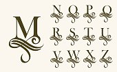 Vintage Set 2 . Capital Letter for Monograms and Logos. Beautiful Filigree Font. Victorian Style.