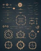 Vintage set of decorative elements. Wedding monograms. Calligraphic elegant ornaments.