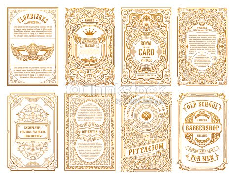 Vintage set retro cards. Template greeting card wedding invitation. Line calligraphic frames : stock vector