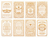 Vintage golden vector set retro cards. Template greeting card border wedding invitation. Line calligraphic frames. Floral engraving design label advertising place for text. Flourish ornate background