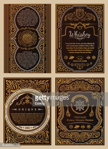 Vintage set Retro-Karten. Vorlage Grußkarte Hochzeitseinladung. Leitung Kalligraphie Bilder : Vektorgrafik