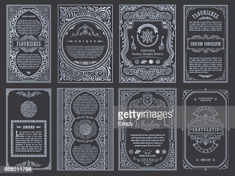 Vintage set retro cards. Template greeting card wedding invitation. Line calligraphic frames : Vector Art