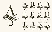 Vintage Set1 . Capital Letter for Monograms and Logos. Beautiful Filigree Font. Victorian Style.