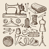 Vintage sewing symbols set. Vector pictures in hand drawn style. Vintage craft handmade, needle and pin illustration