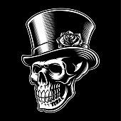 Vintage skull with hat on dark background.