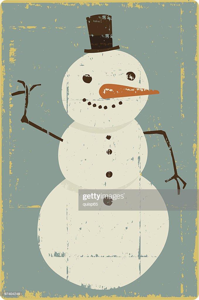 Vintage Snowman : Vector Art