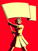Vintage soviet socialist propaganda style patriot woman holding blank flag vector illustration