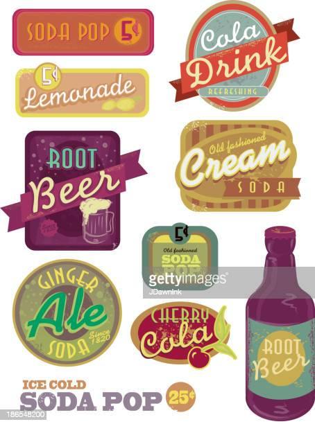 Vintage soda pop label set