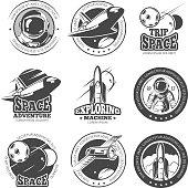 Vintage space, astronautics, shuttle flight vector labels, logos, badges, emblems. Flight shuttle label, illustration of launch ship rocket
