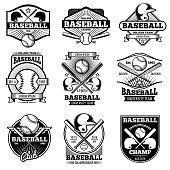 Vintage sports icon design. Retro baseball vector label and badges. Emblem baseball illustration, game icon with ball and bat