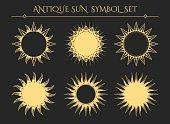 Sun symbols. Vintage starburst mystical icons or spiritual geometry star logo signs