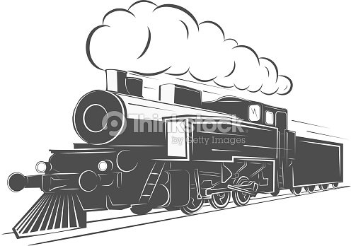 Vintage Steam Train Isolated On White Background Old Retro