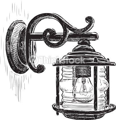 Vintage Street Lamp Vector Art