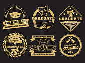 Vintage student graduate vector badges. Graduation label set. Graduation badge and label vintage university or school illustration