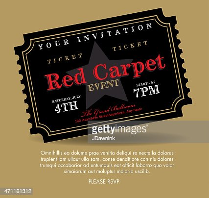 Vintage Style Gold On Red Carpet Event Ticket Invitation Template