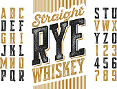 Vintage style modern font, straight rye whiskey simple label design