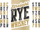 Vintage style modern font, straight rye whiskey simple label design