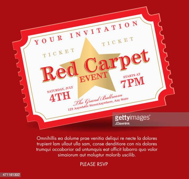 Vintage Style Red And Gold Carpet Event Ticket Invitation Template – Invitation Ticket