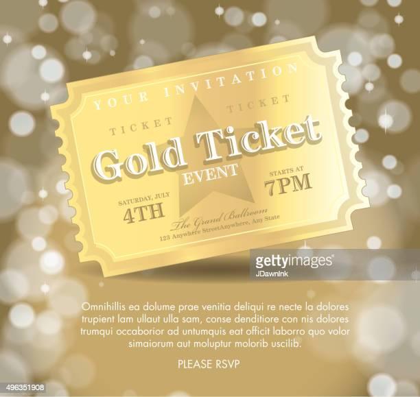 style Vintage invitation template Billets Golden
