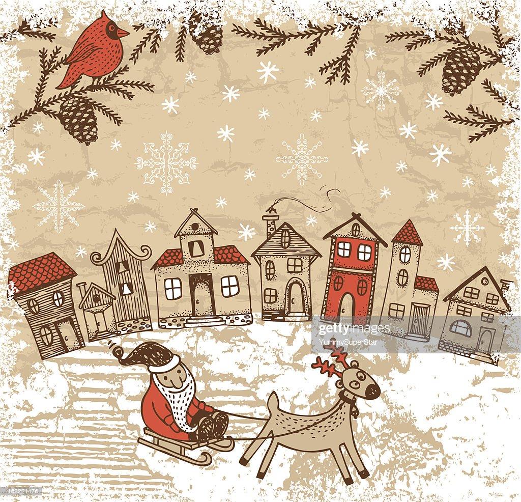 Vintage style hand-drawn Christmas illustration : Vector Art