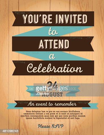 Estilo Vintage Convite Modelo Em Fundo De Madeira Arte Vetorial