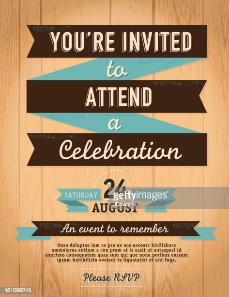 Vintage style invitation template on wood background