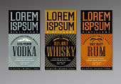 vintage style label design templates for vodka, whiskey and rum bottles