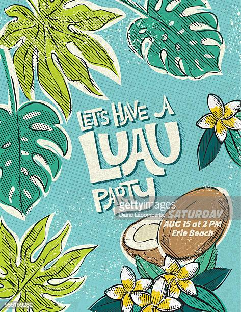 Vintage Style Luau Party Invitation Template